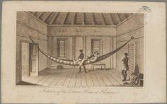 Intérieur de la maison de la reine à Huahine (1835)