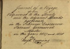 Journal of a Voyage from Valparaiso to the Society and the Adjacent Islands (1827-1828)