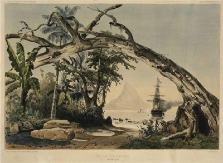 Site sur l'île d'Ao-Kena – Iles Manga-Reva (1846)