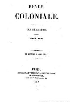 Note sur les îles de Tahiti et Morea – Revue coloniale (1857)