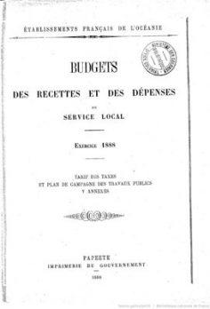 Budget des recettes et des dépenses du service local – Exercice 1888