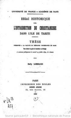 Essai historique sur l'introduction du christianisme sur l'île de Tahiti (1892)