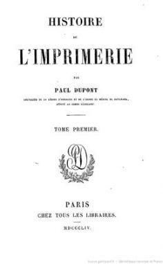 Histoire de l'imprimerie – Tome I (1854)