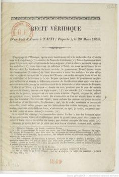 Récit véridique d'un fait d'armes à Taïti (Papeete) le 20 mars 1846