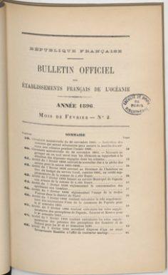 Bulletin officiel des Etablissements français de l'Océanie – Année 1896/2 Février