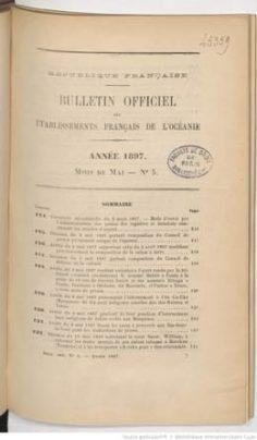 Bulletin officiel des Etablissements français de l'Océanie – Mai 1897