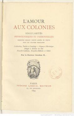 L'Amour aux colonies, singularités physiologiques et passionnelles (1893)