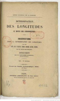 Détermination des longitudes au moyen des chronomètres (1851)