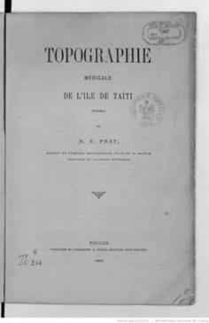 Topographie médicale de l'île de Taïti (1869)