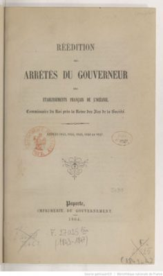 Réédition des arrêtés du gouverneur des EFO de 1843 à 1847 (1864)