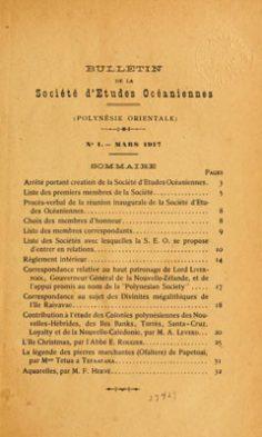 Bulletins de la Société des études océaniennes N° 1 à 4 (1917-1918)
