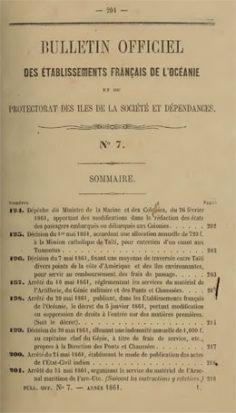 Bulletin officiel des établissements français de l'Océanie et du protectorat des îles de la Société et dépendances – N°6 à 14 – Année 1861 / N°2 Année 1884