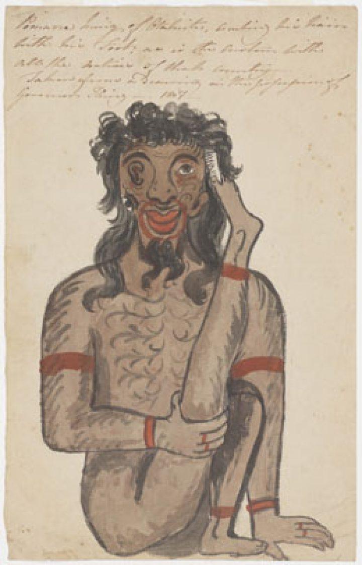 Pomare, roi de Tahiti, se peigne les cheveux avec le pied (1807)