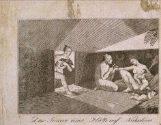 Intérieur d'une hutte de Nuku Hiva (1804)