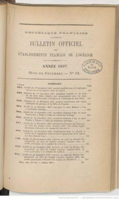 Bulletin officiel des Etablissements français de l'Océanie – Décembre 1897
