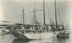 Arrivée d'une goélette en provenance des Australes à Papeete