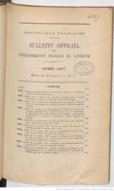 Bulletin officiel des Etablissements français de l'Océanie –  Juin 1897