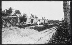 Wagons de chemin de fer chargés de phosphate, Makatea (1926)