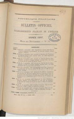 Bulletin officiel des Etablissements français de l'Océanie – Novembre 1897