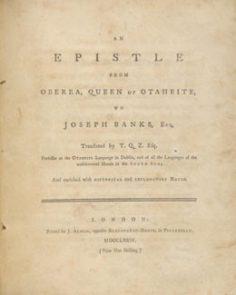 Un épître de Oberea, Reine de Otaheite, à Joseph Banks (1774)