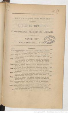 Bulletin officiel des Etablissements français de l'Océanie – Octobre 1897