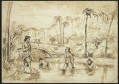Baignade en rivière – Pottier (1855)