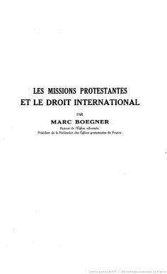 Les missions protestantes et le droit international (1930)