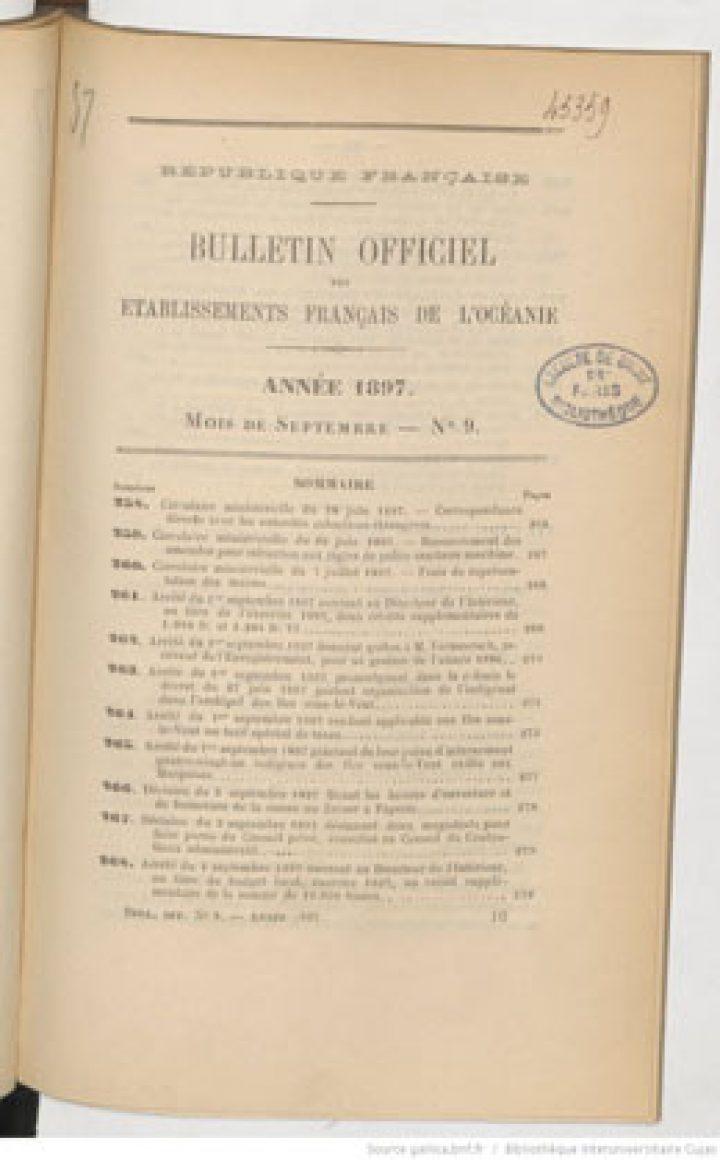 Bulletin officiel des Etablissements français de l'Océanie – Septembre 1897