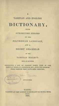 Tahitian and english dictionary par John Davies (1851)