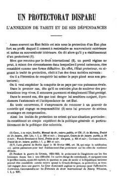 Un protectorat disparu: l'annexion de Tahiti et de ses dépendances (1894)